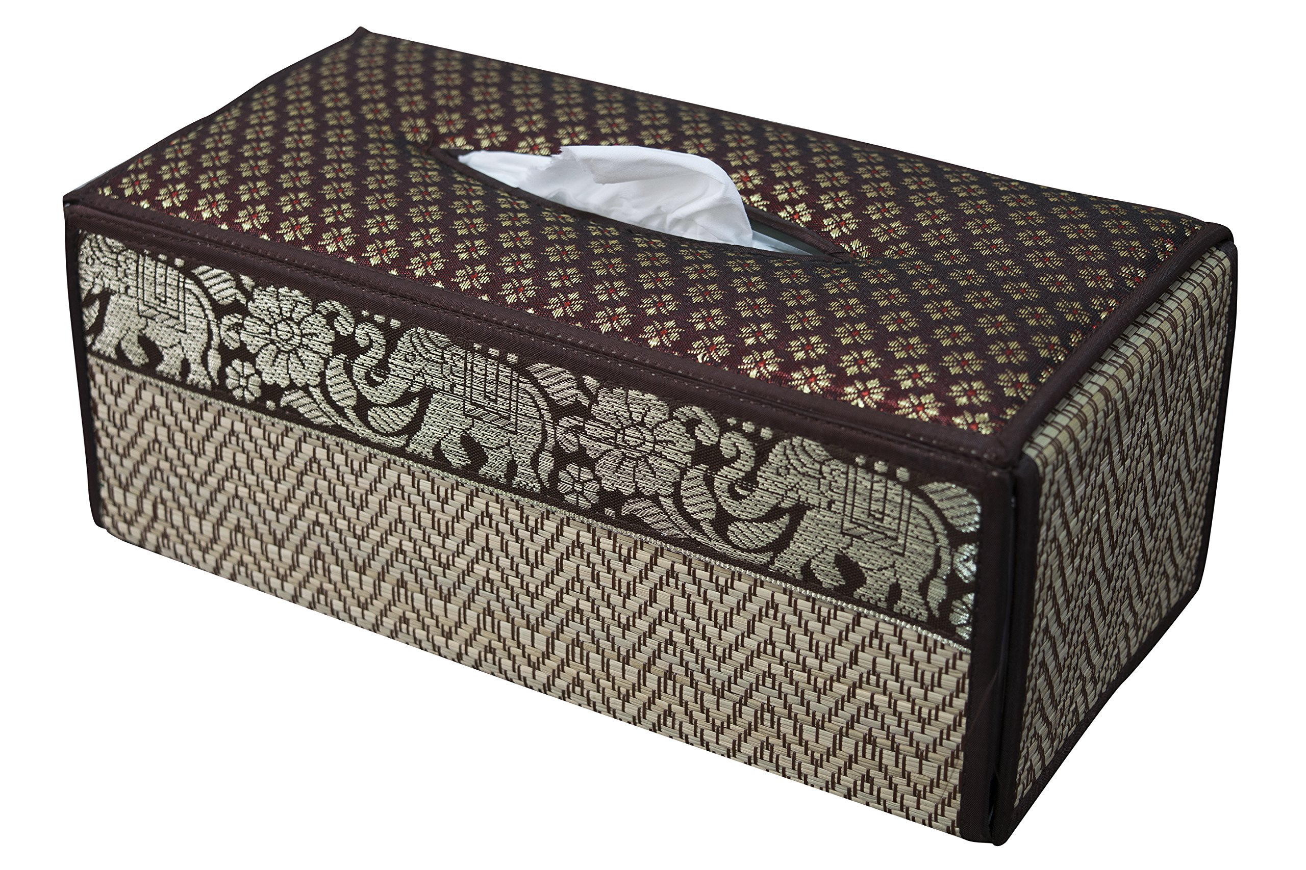 TISSUE BOX cover many COLOURS case sheath natural Reed wicker ECO sustainable material and plush SILK Trim Elephant Side (D Brown)