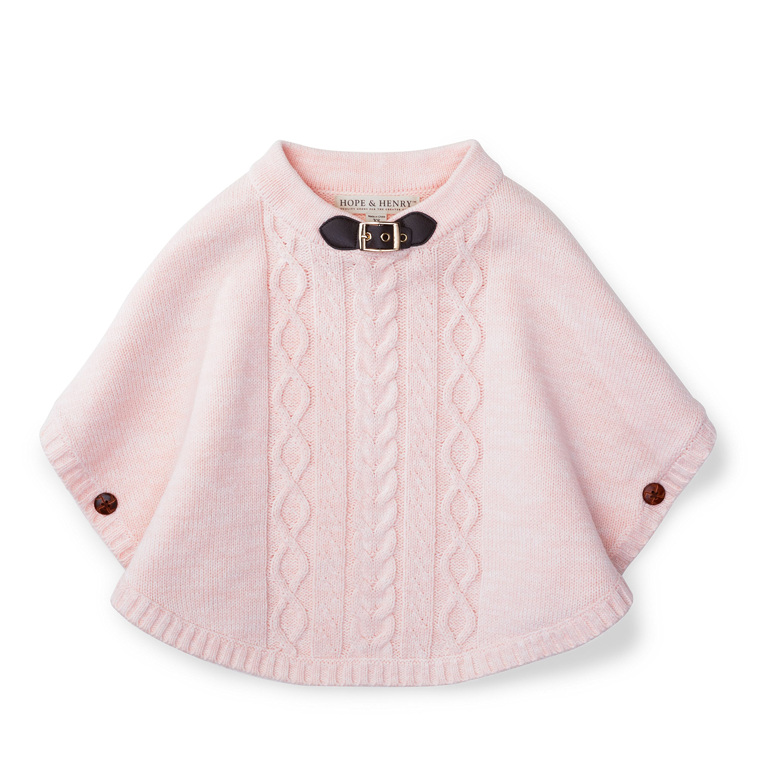 Hope & Henry Girls Heather Pink Cable Sweater Cape