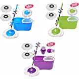 PrimeTrendz Easy Magic Floor Mop 360° Bucket 2 Heads Microfiber Spin Spinning Rotating Head in Assorted Color in Purple, Blue Or Blue
