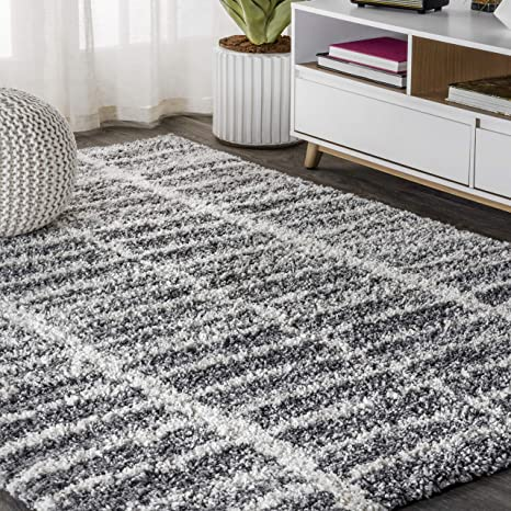 Amazon Com Jonathan Y Merida Stacked Grid Shag Grey Ivory 8 Ft X 10 Ft Area Rug Bohemian Easy Cleaning For Bedroom Kitchen Living Room Non Shedding Furniture Decor