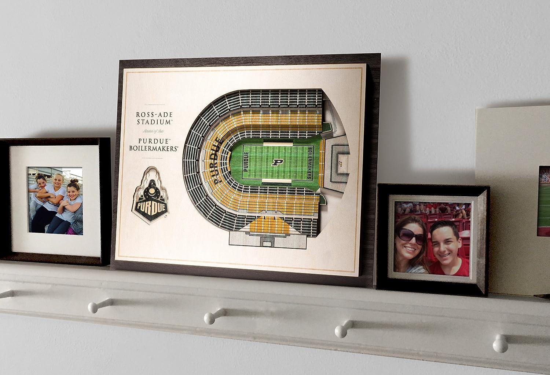 Football Standard Version NCAA Purdue Boilermakers 5-Layer Stadiumviews 3D Wall Art 17 x 13 x 5//8 Purdue Boilermakers