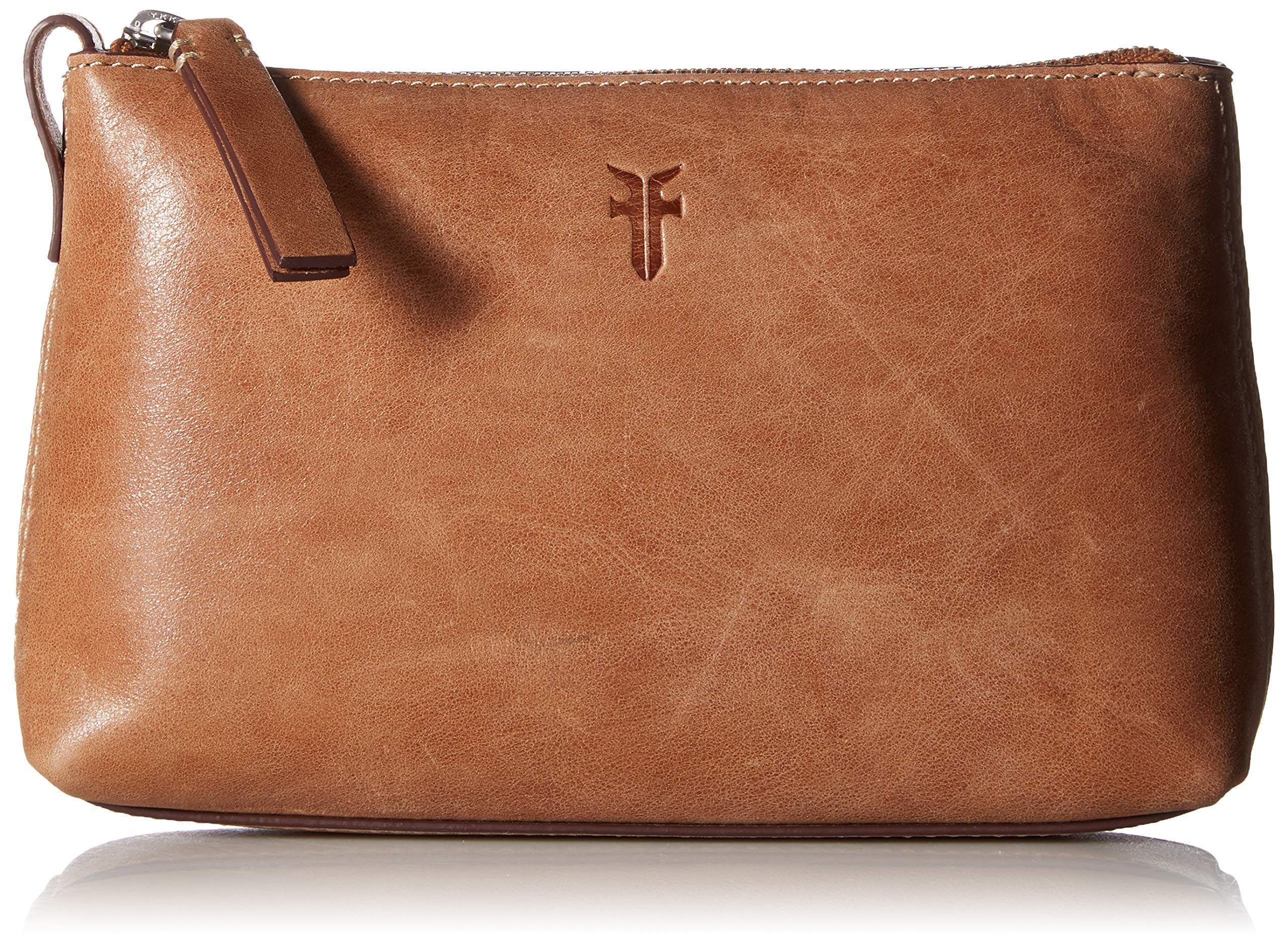 FRYE Leather Zip Makeup Case, tan