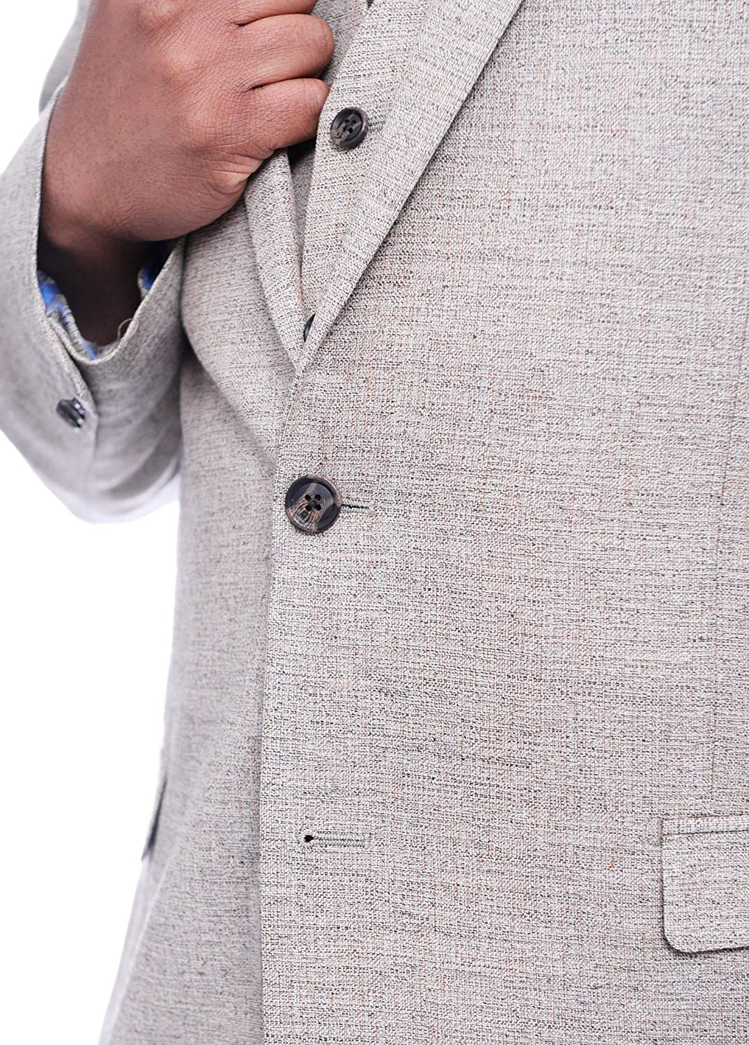 Steven Land Classic Fit Tan Tweed Two Button Three Piece Wool Suit