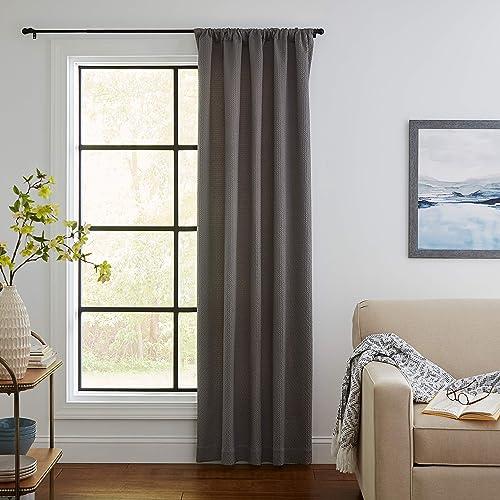 Amazon Brand Stone Beam Modern Diamond Texture Curtain Panel – 96 x 46 Inch, Charcoal
