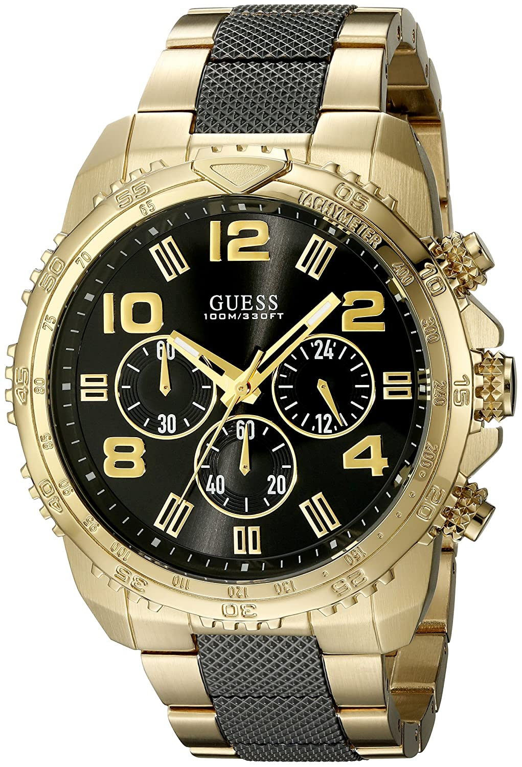 Amazon.com: GUESS Mens Stainless Steel Casual Bracelet Watch, Color: Gold-Tone/Black (Model: U0598G4): Watches