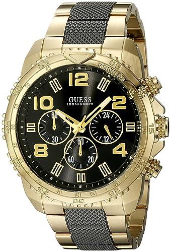 Guess Hombre u0598g4 Tono Dorado y Negro Reloj cronógrafo de Acero Inoxidable: Amazon.es: Relojes