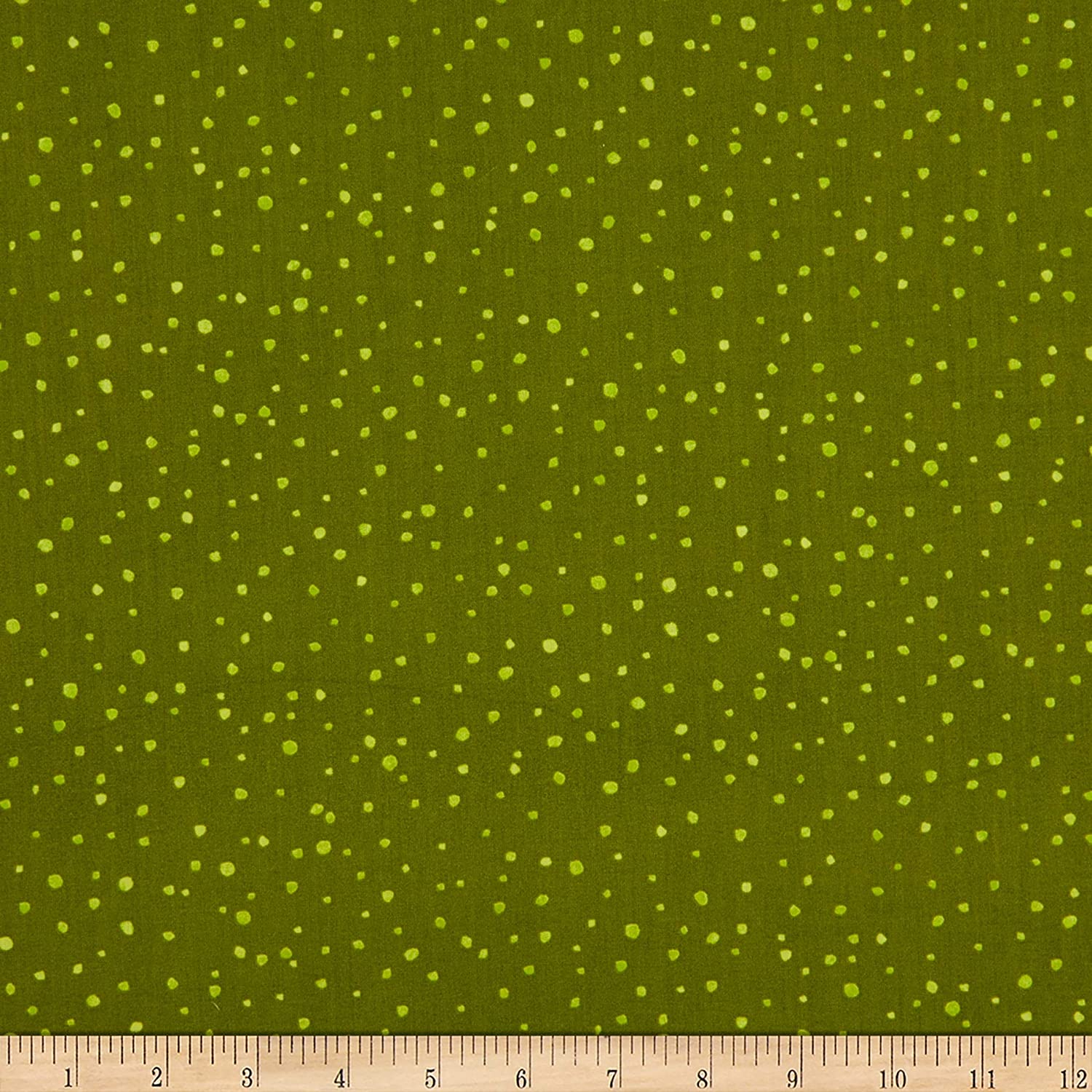 Clothworks Garden Notes Dots Olive Quilt Fabric