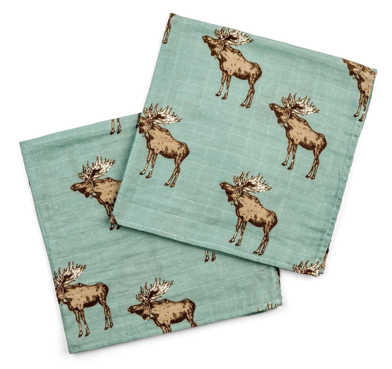 Milkbarn Bamboo Cotton Burp Cloths''Bow Tie Moose'' - Pack of 2