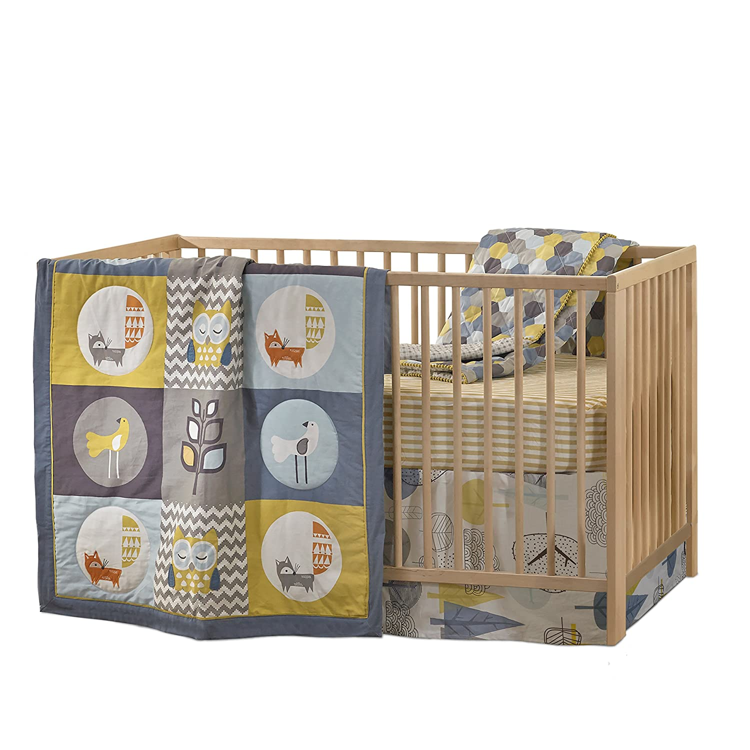 Lolli Living 4-Piece Baby Bedding Crib Set with Woods Pattern. Complete Set with Quilt, 2 Fitted Sheets, and Bed Skirt (Yellow and Blue).