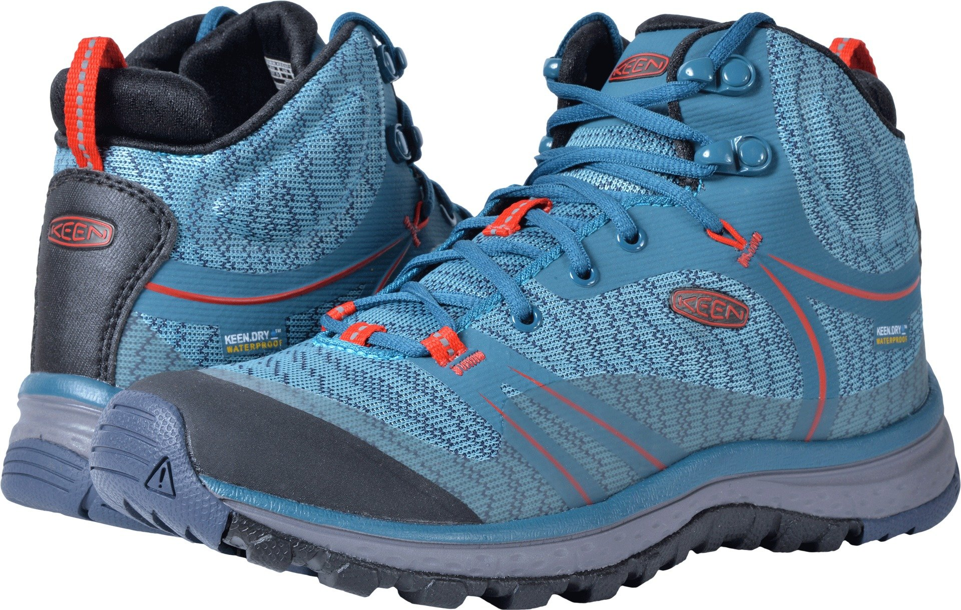 KEEN Women's Terradora Mid WP-w Hiking Shoe, Blue Coral/Fiery Red, 7 M US