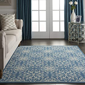 "Nourison JUB06 Jubilant Transitional Floral Ivory/Blue Area Rug 5'3"" x 7'3"", 5' x 7'"