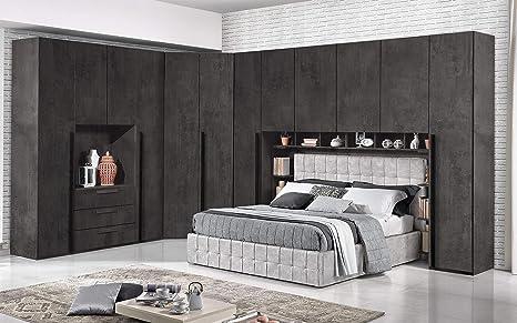 Dafne Italian Design Dormitorio Completo Con Puente óxido Estilo Moderno Cama De Matrimonio Y Armario Amazon Es Hogar