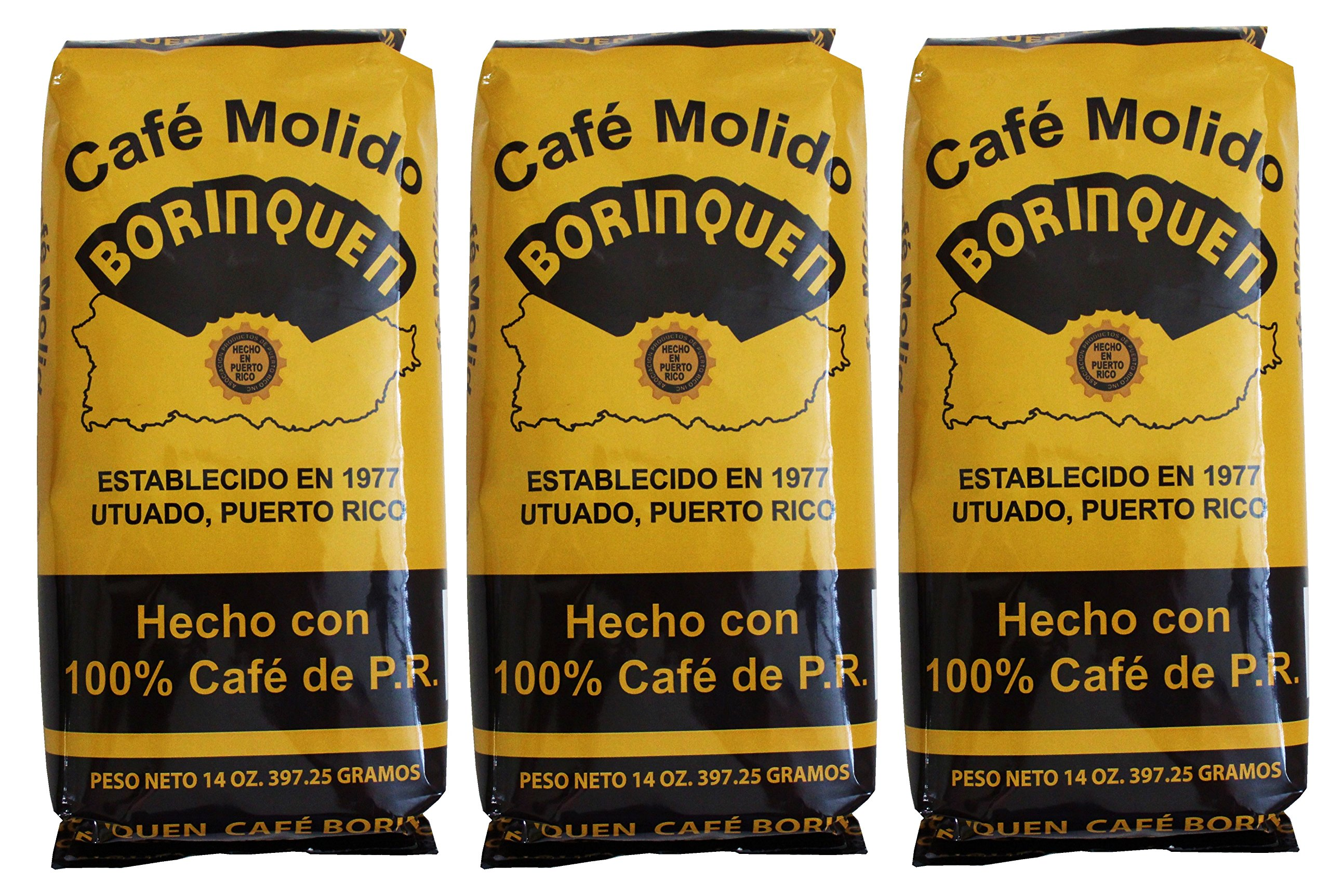 Cafe Molido Borinquen Pure Ground Coffee From Puerto Rico Mountains 14 Ounces Bags (3 Pack
