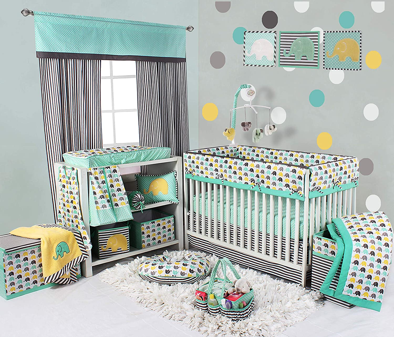 Bacati Elephants Unisex 10 Piece Nursery-in-A-Bag Crib Bedding Set with Long Rail Guard, 100 Percent Cotton Percale for US Standard Cribs, Mint/Yellow/Grey