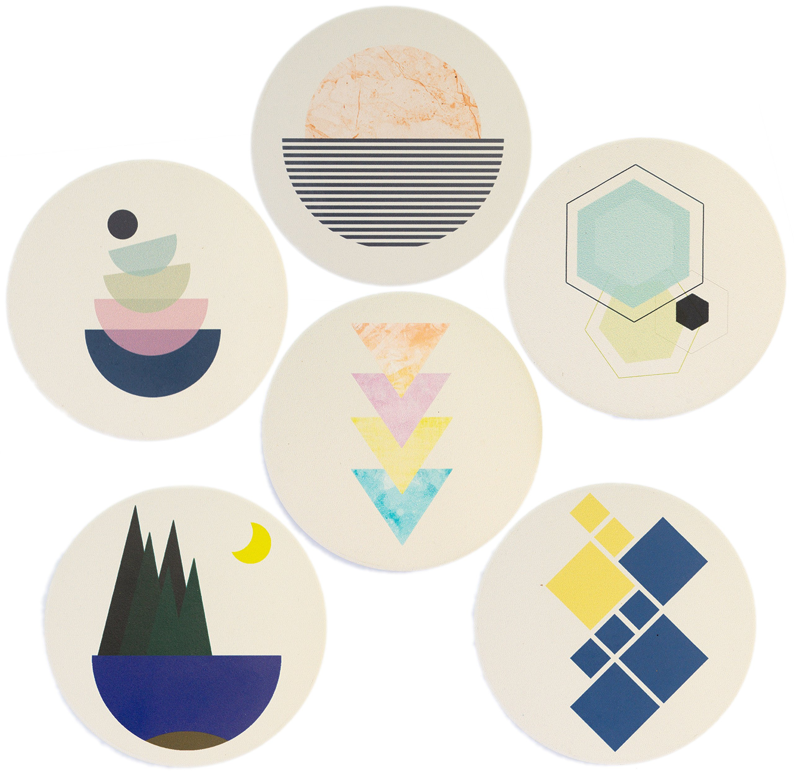 Gedo Modern Art Design Coasters – Complete Set of 6 Coasters – Elegant Design, Absorbent Stone, Perfect Size, Cork Bottom, Furniture Protection, a Must-have Gift!