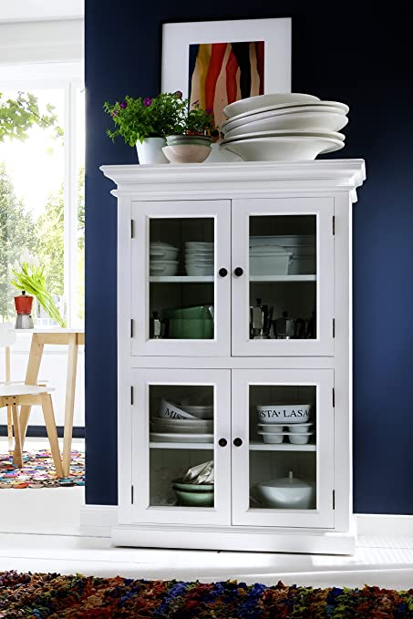 NovaSolo Halifax Pure White Mahogany Wood Storage Kitchen Pantry Unit With  Glass Doors And 4 Shelves