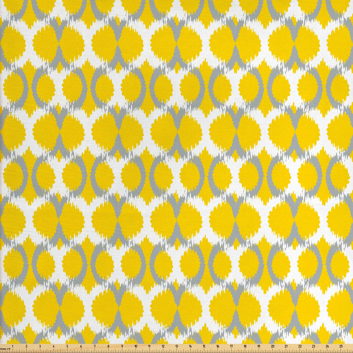 Amazon Lunarable Ikat Fabric By The Yard Oval And Double Mesh