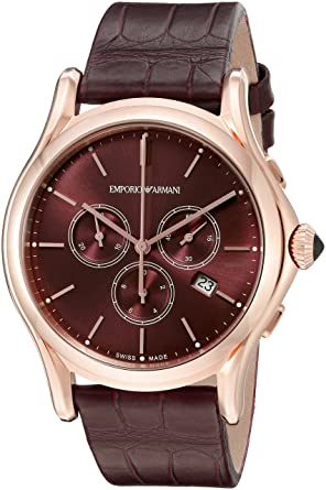 09c6b8efa0410 Image Unavailable. Image not available for. Color  Emporio Armani Swiss  Made Men s ARS4011 Analog Display Swiss Quartz Red Watch