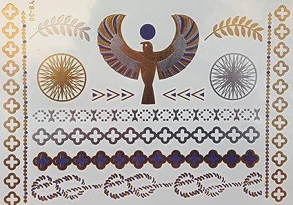 Metallic Tattoo Oro Plata Lila egipcio motivos joyas Tattoo ...
