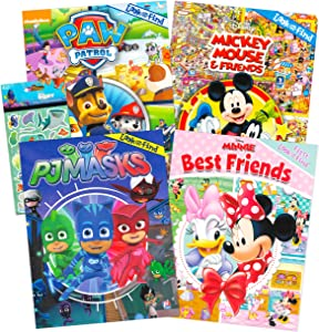 Disney Nickelodeon Look and Find Book Bundle Activity Book Set ~ 4 Pack Look and Find Books for Kid with Games, Puzzles, Mazes, Stickers Featuring Paw Patrol, Minnie Mouse, Mickey Mouse, PJ Masks
