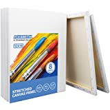 FIXSMITH Stretched White Blank Canvas - 12 x 16 Inch, Bulk Pack of 8, Primed, 100% Cotton, 5/8 Inch Profile of Super…