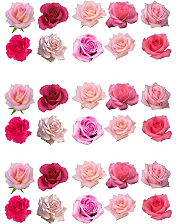 Rosas comestibles para decorar tartas, de color rosa, pack de 30