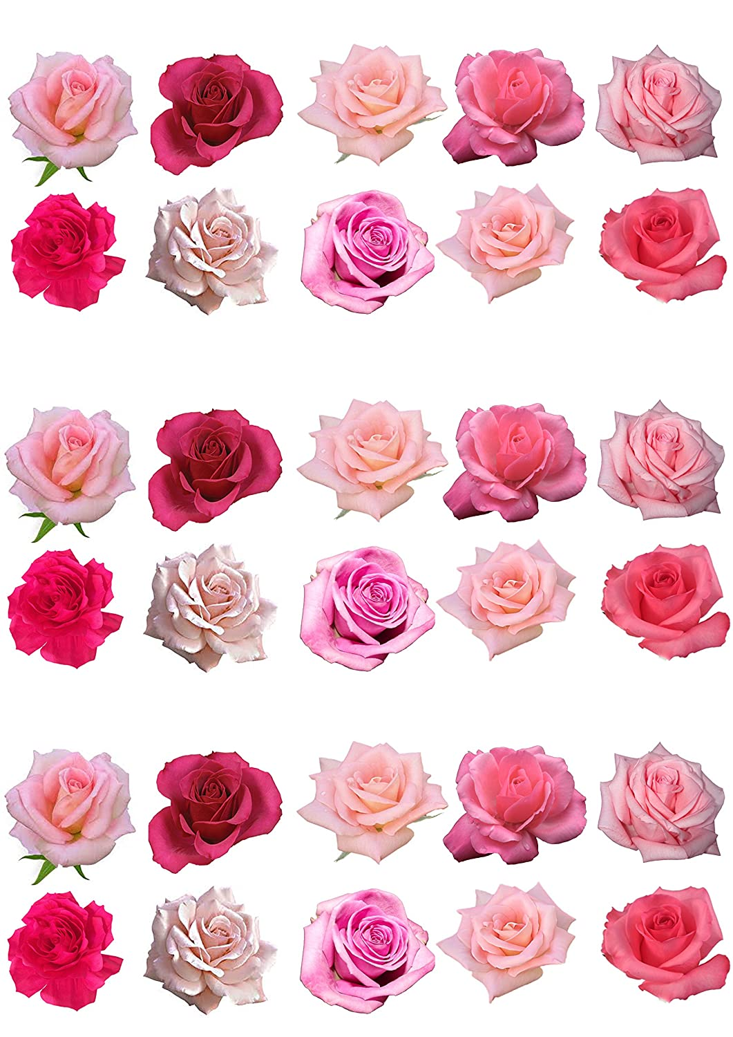 30 Mixed Pink Roses Edible Wafer Paper Cake toppers Decorations Top That