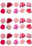 30 Gorgeous Mixed Pink Rose Flower Edible Wafer Paper Cake Toppers Decorations