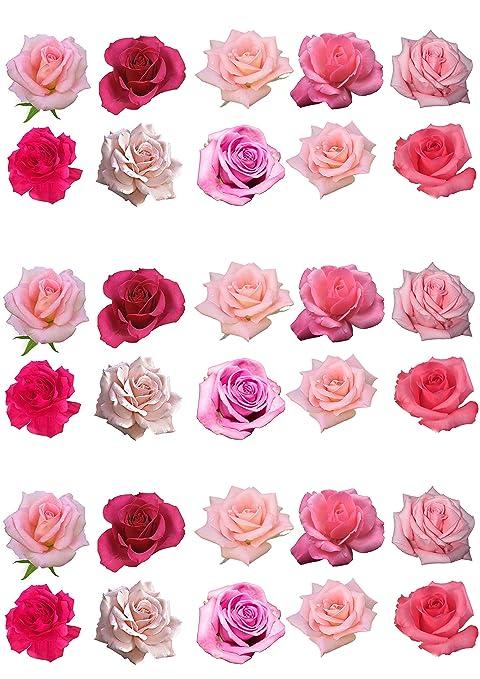 Top That - Lote de 30 rosas de oblea para decorar pasteles
