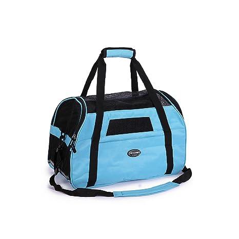 BabycarePro Plegable Transport/ín Gato para coche Portador Perro Elegante para avi/ón Bolso de viaje para mascotas con estera y lados suaves Azul