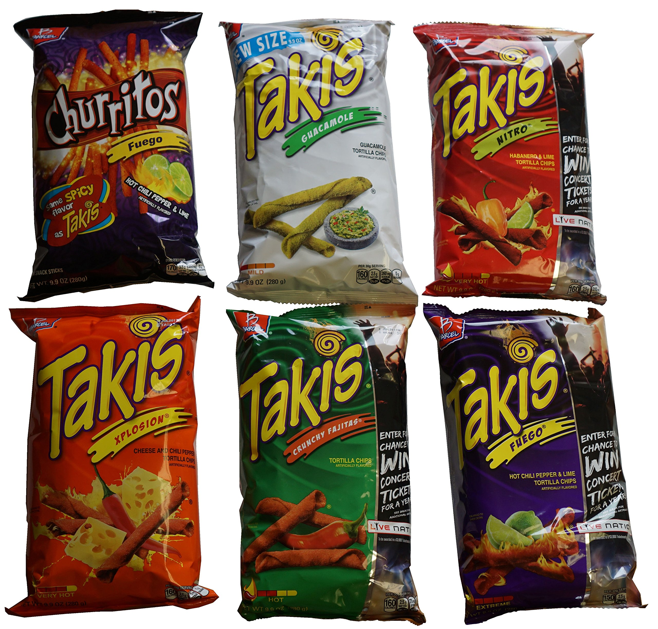 Barcel Takis Tortilla Chips 9.9 oz Sampler (Feugo,Nitro,Churritos,Xplosion,Fajitas,Guacamole) by Barcel