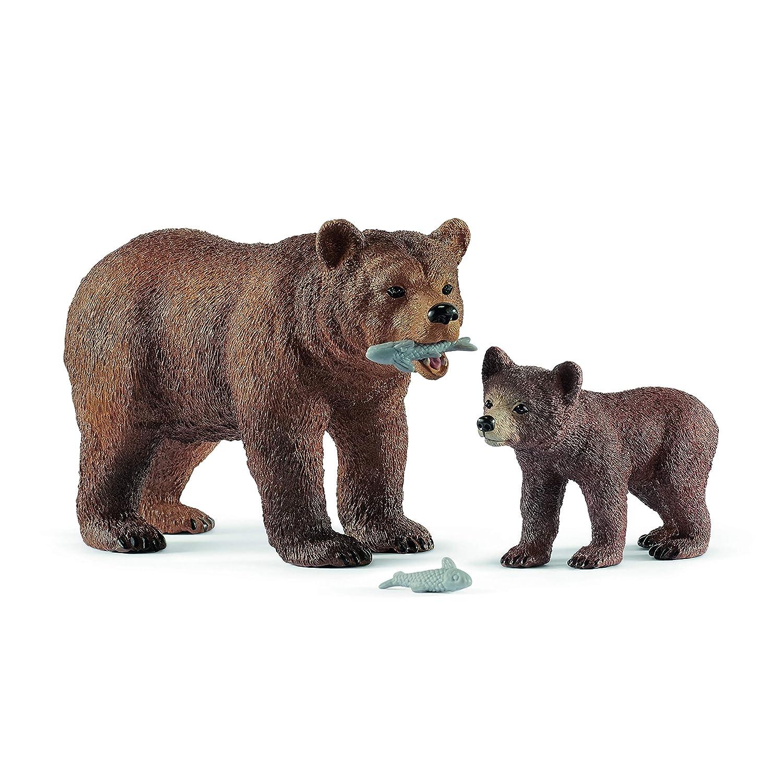 Schleich-2542473 2542473 Mamma Orsa Grizzly con Cucciolo (3), 42473