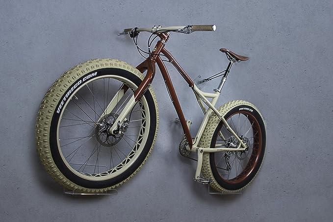 trelixx Soporte de Pared para Bicicleta acrílico Transparente (Acabado láser) Idóneo para fatbike, Soporte de diseño para Bicicleta con Montaje en la Pared: ...