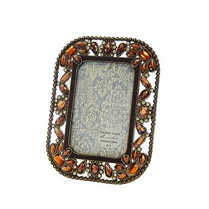 Amazon.com - Rhinestone Jeweled Antiqued Brass Large Brown Amber ...