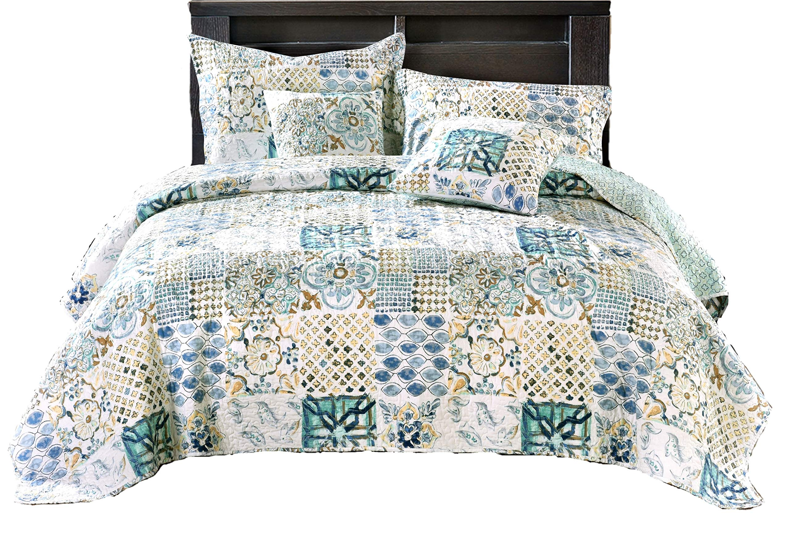 Tache Home Fashion Watercolor Spring Time Patchwork Quilted Coverlet Bedspread Set - Bright Vibrant Multi Colorful Blue White Floral Print - Full- 3-Pieces