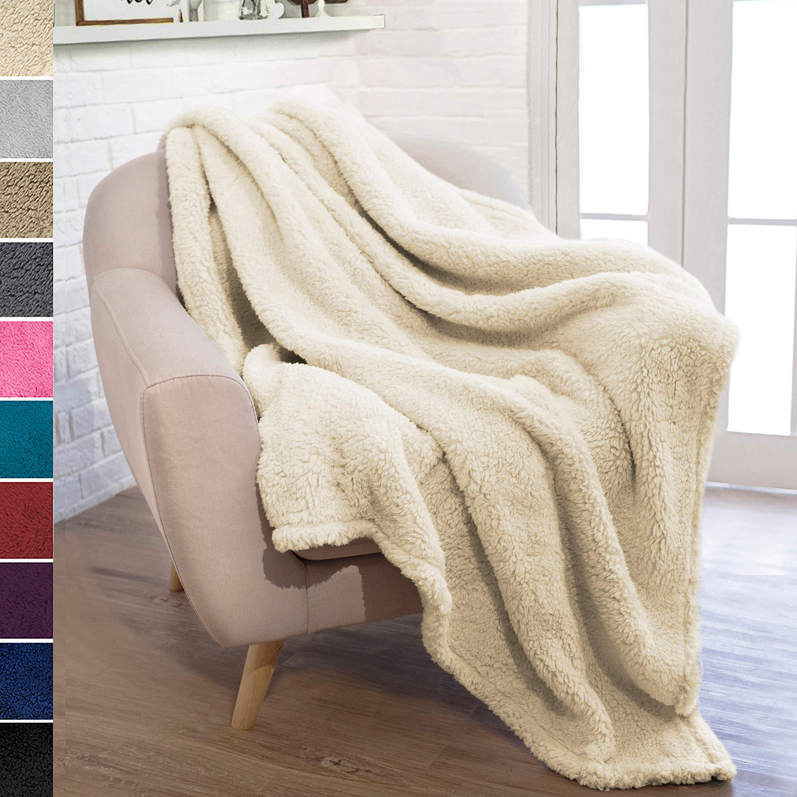 PAVILIA Plush Sherpa Throw Blanket for Couch Sofa | Fluffy Microfiber Fleece Throw | Soft, Fuzzy, Cozy, Lightweight | Solid Latte Cream Blanket | 50 x 60 Inches