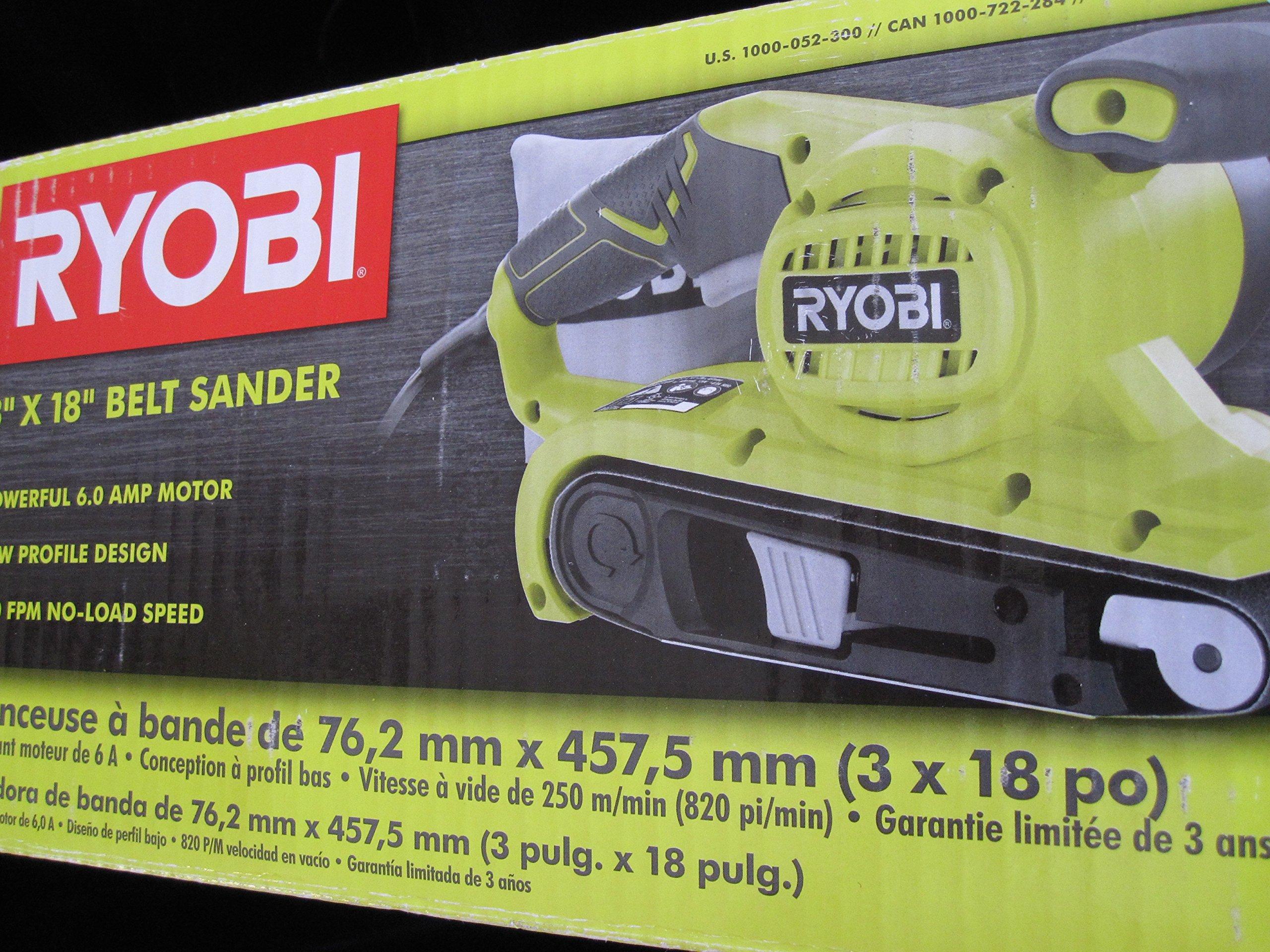 "Ryobi BE319 6 Amp Portable 320 Feet/Minute Corded Belt Sander (3"" x 18"") w/Onboard Removable Dust Bag (Medium Grit Sanding Belt Included)"