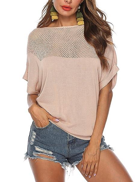 Amazon.com: LYHNMW blusa sexy de manga corta para mujer ...
