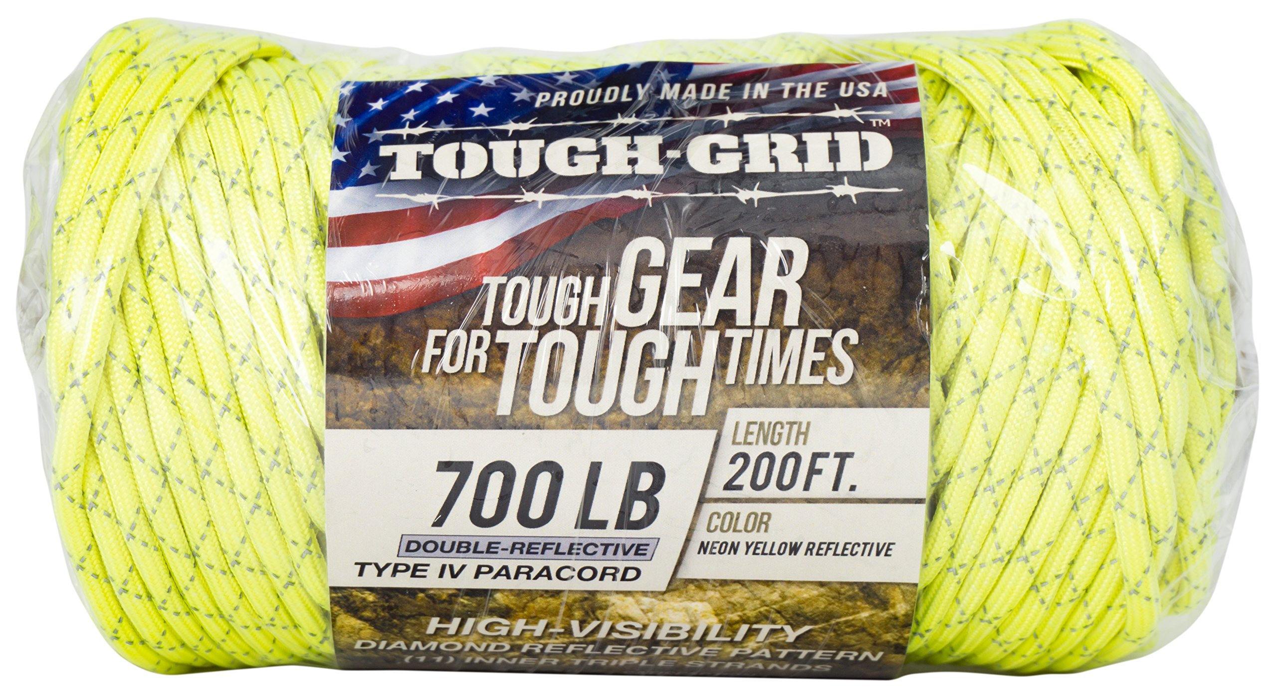 TOUGH-GRID New 700lb Double-Reflective Paracord/Parachute Cord - 2 Vibrant Retro-Reflective Strands for The Ultimate High-Visibility Cord - 100% Nylon - Made in USA - 200Ft. Neon Yellow Reflective by TOUGH-GRID (Image #5)