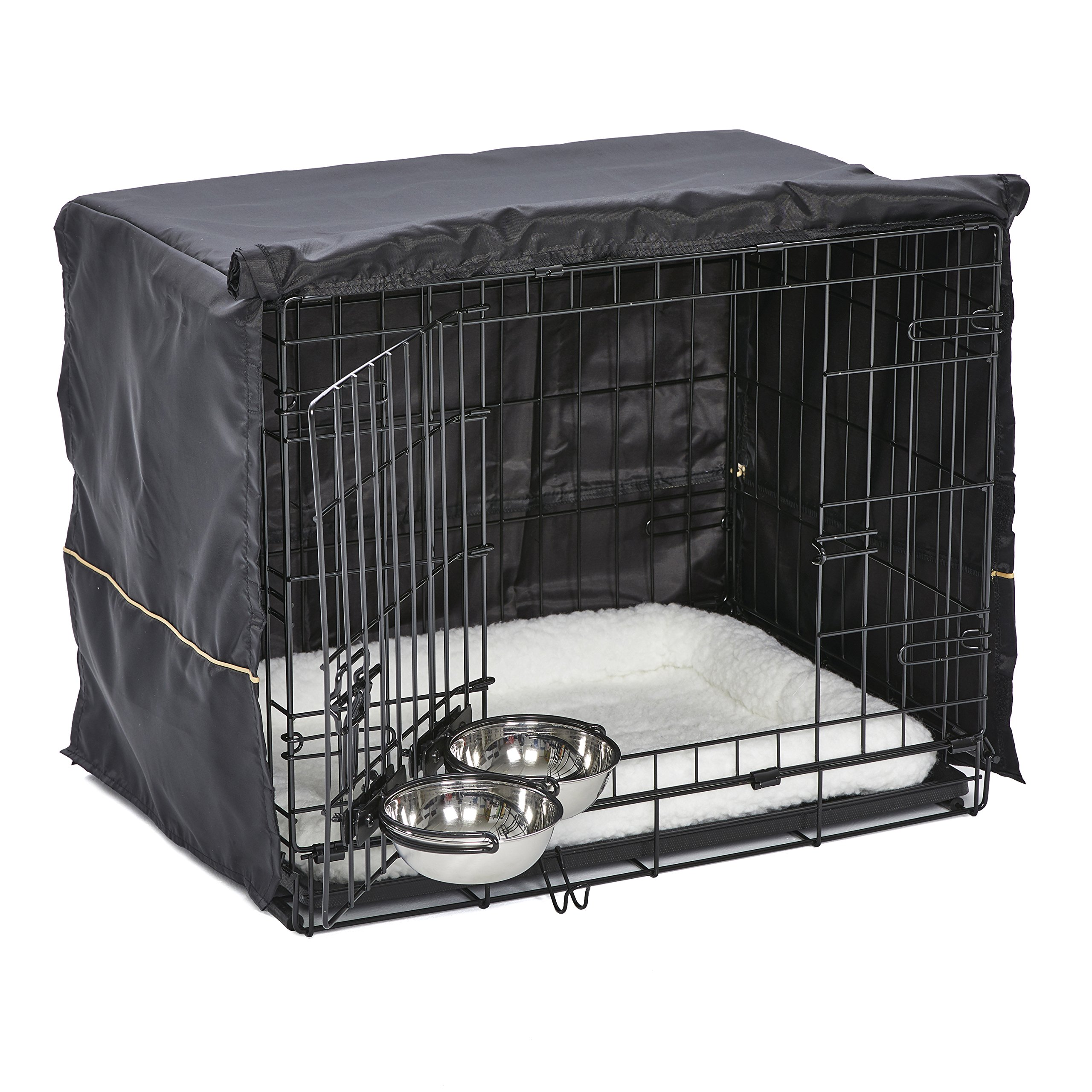 MidWest Homes for Pets Small Dog Crate Starter Kit | One 2-Door iCrate, Pet Bed, Crate Cover & 2 Pet Bowls | 24-Inch Ideal for Small Dog Breeds by MidWest Homes for Pets (Image #4)