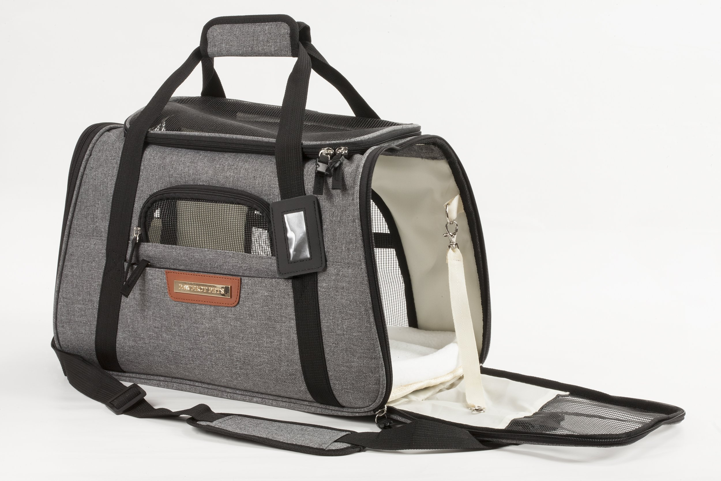 Pawfect Pets Pet Travel Carrier, Soft-Sided with Two Pet Mats for Small Dogs and Cats (Grey) by Pawfect Pets (Image #2)