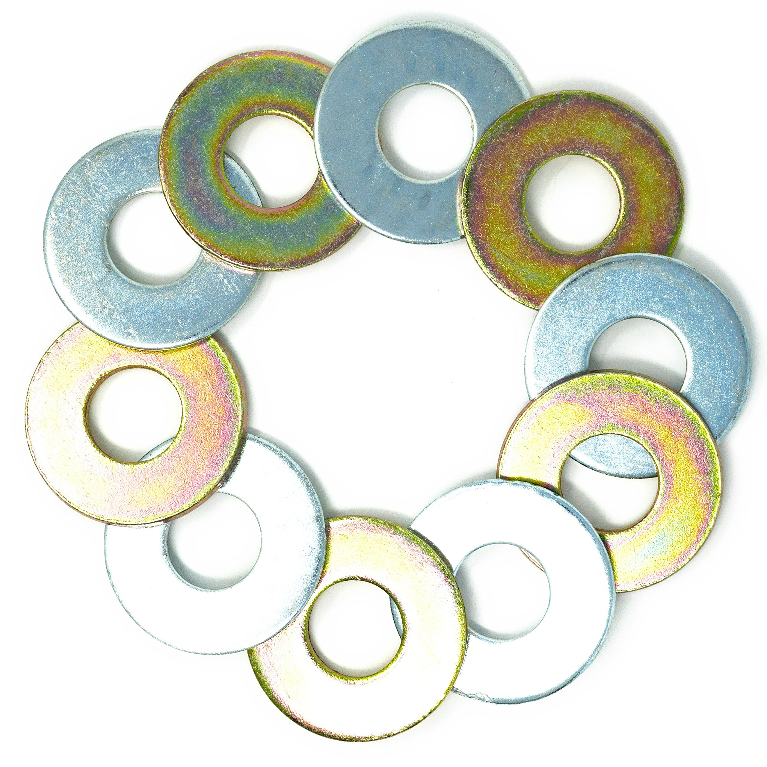 5 Yellow/5 Silver Replacement 2-1/2'' Washer Toss Pitching Game Washers (Zinc Coated)