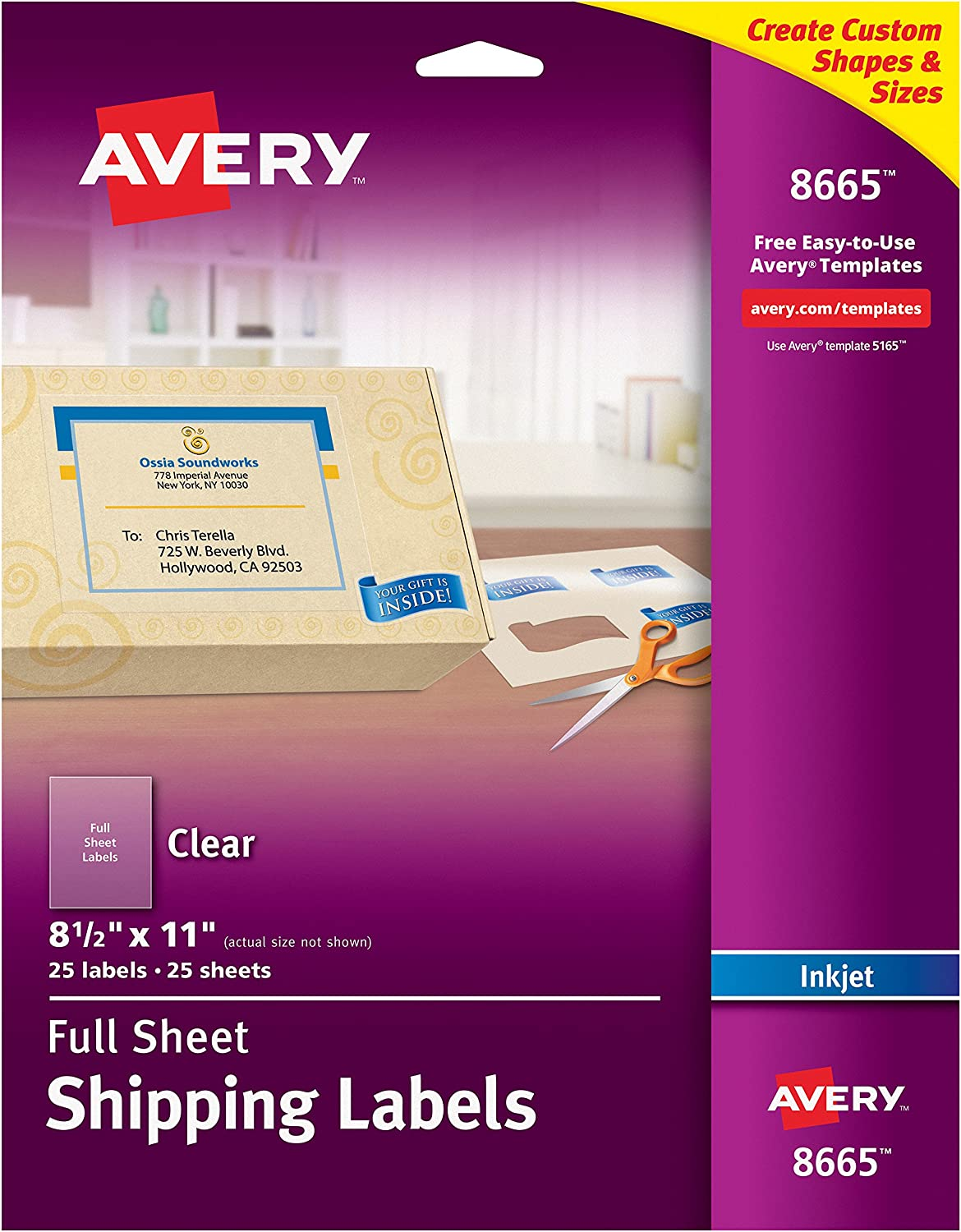 "Avery Matte Frosted Clear Full Sheet Labels for Inkjet Printers, 8.5"" x 11"", 25 Labels (8665)"