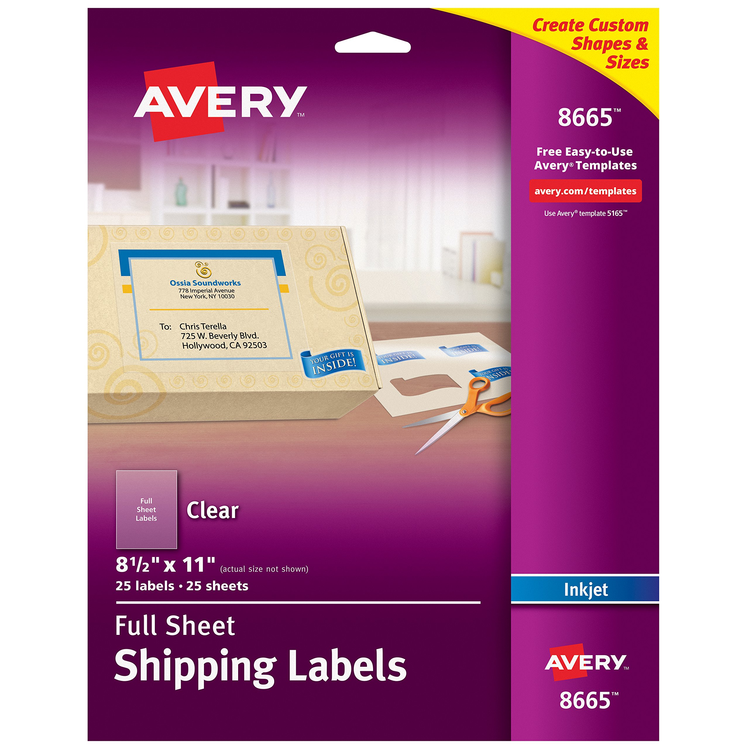Avery Matte Frosted Clear Full Sheet Labels for Inkjet Printers, 8.5'' x 11'', 25 Labels (8665)