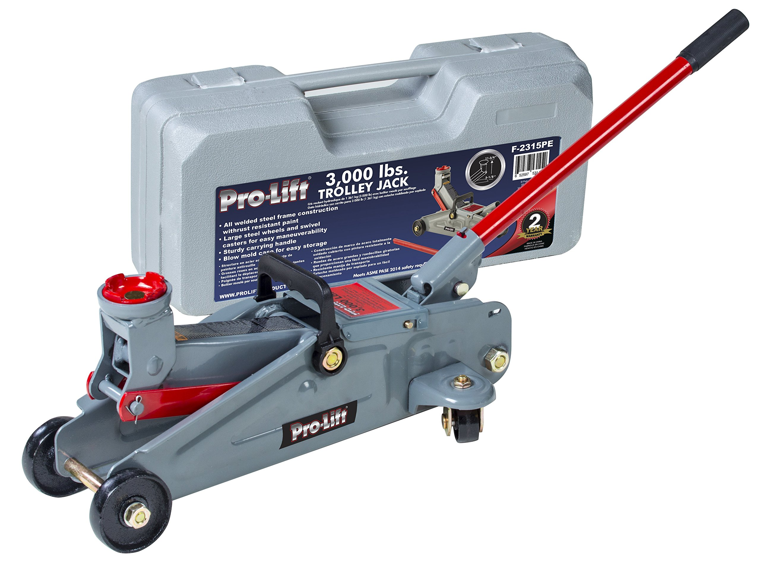 Pro-LifT F-2315PE Grey Hydraulic Trolley Jack Car Lift with Blow Molded Case-3000 LBS Capacity by Pro-LifT