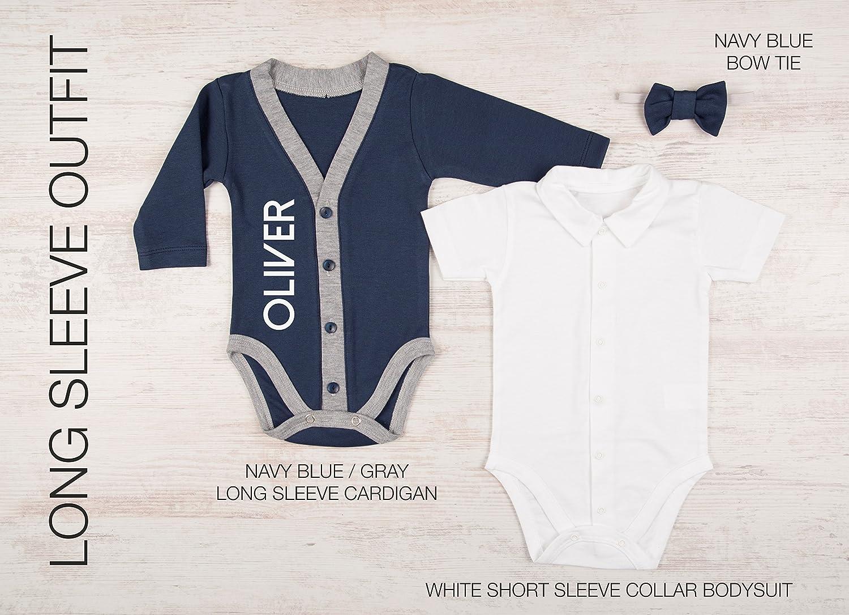 116c0ea89ee2 Amazon.com: Personalized Baby Boy Gift, Set of 3 - Navy Cardigan, Bodysuit  and Bow Tie: Handmade