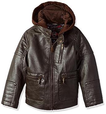 684cf430ac44d Urban Republic Boys Artsy Faux Leather Jacket with Fleece Hoodie Jacket