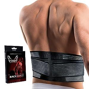 Venom Lumbar Back Brace Compression Belt - Elastic Support & Adjustable Dual Straps, Lower Back Pain, Spasm, Strain, Herniated Disc, Sciatica, Scoliosis, Disc Bulge, Lifting, Men, Women