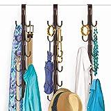 Lynk Over Door Accessory Hanger - Scarf, Belt, Hat, Jewelry Organizer - Vertical 12 Hook Rack - Bronze