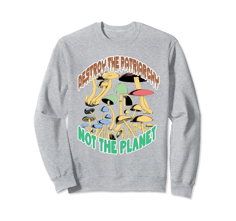 Destroy Patriarchy Not Planet Feminist Sweatshirt   Mushroom-TH